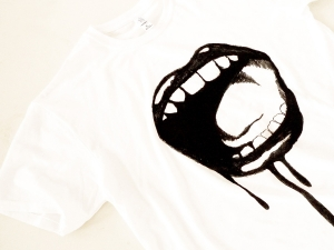 Bleeding Lips T-shirt, illustration by Joseph Bramall